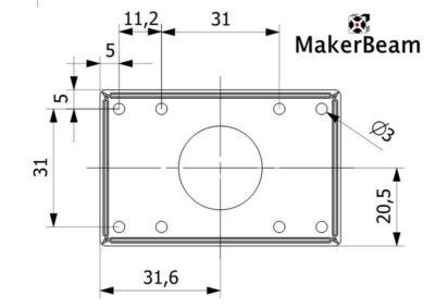 Zeichnung Nema17 Schritthalterung