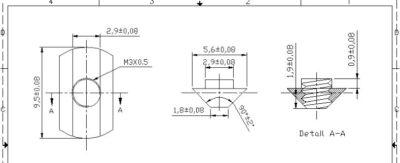 Dimensions de l'utilitaire à rainure en T MakerBeam