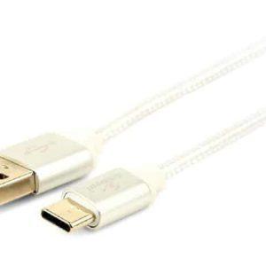 Silveren USB C kabel 1,8 meter