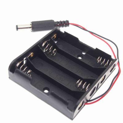 4 AA Batteriehalter mit DC Barrel Jack