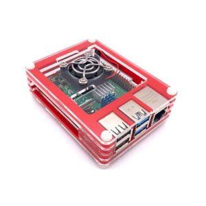 Acryl behuizing Rood Transparant Raspberry Pi 4