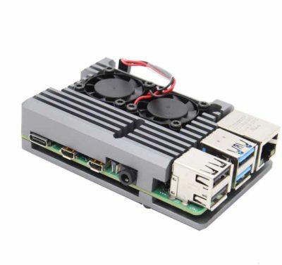 Raspberry Pi 4 Heatsink case with fan gray