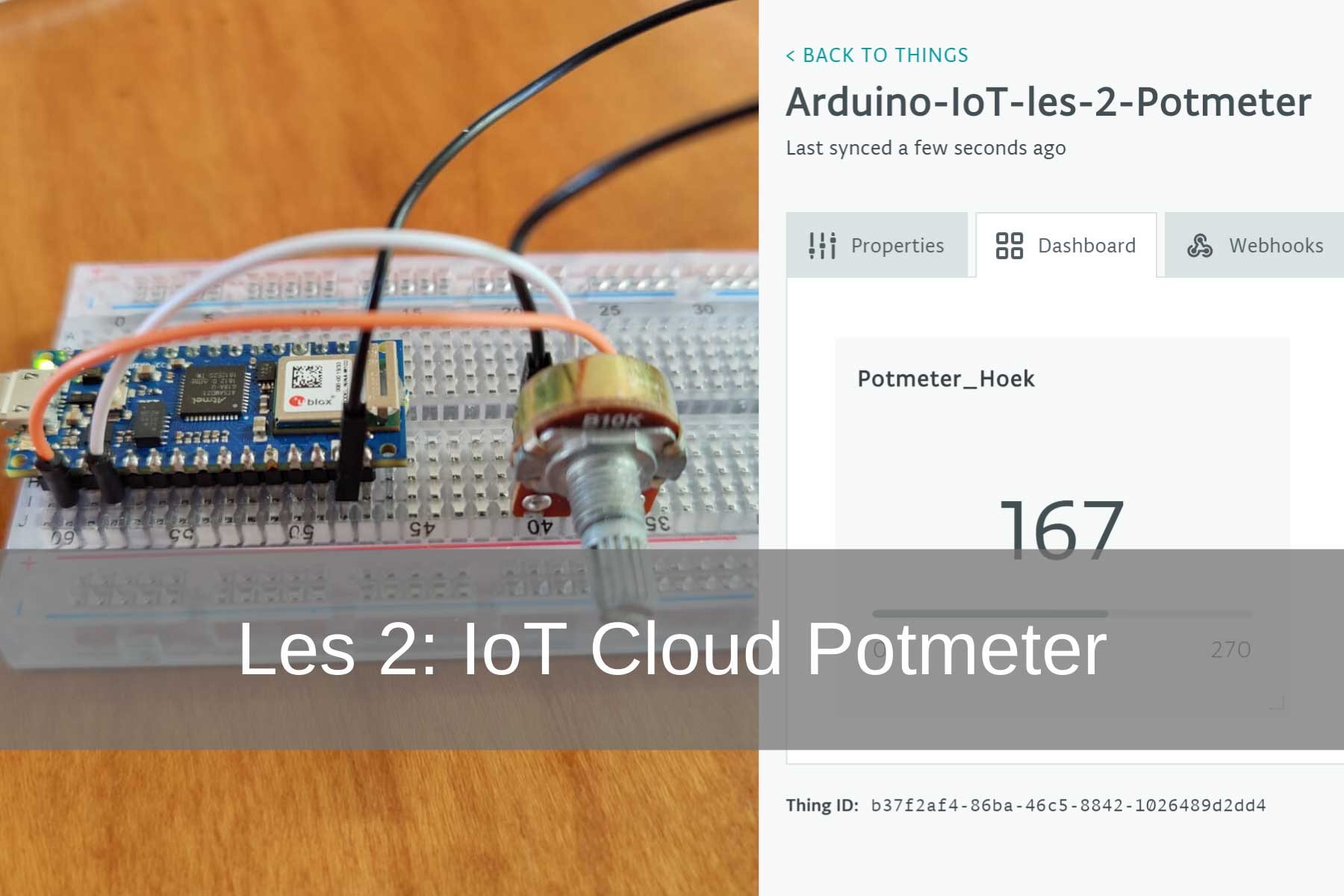 Arduino IoT Cloud Les 2: Potmeter