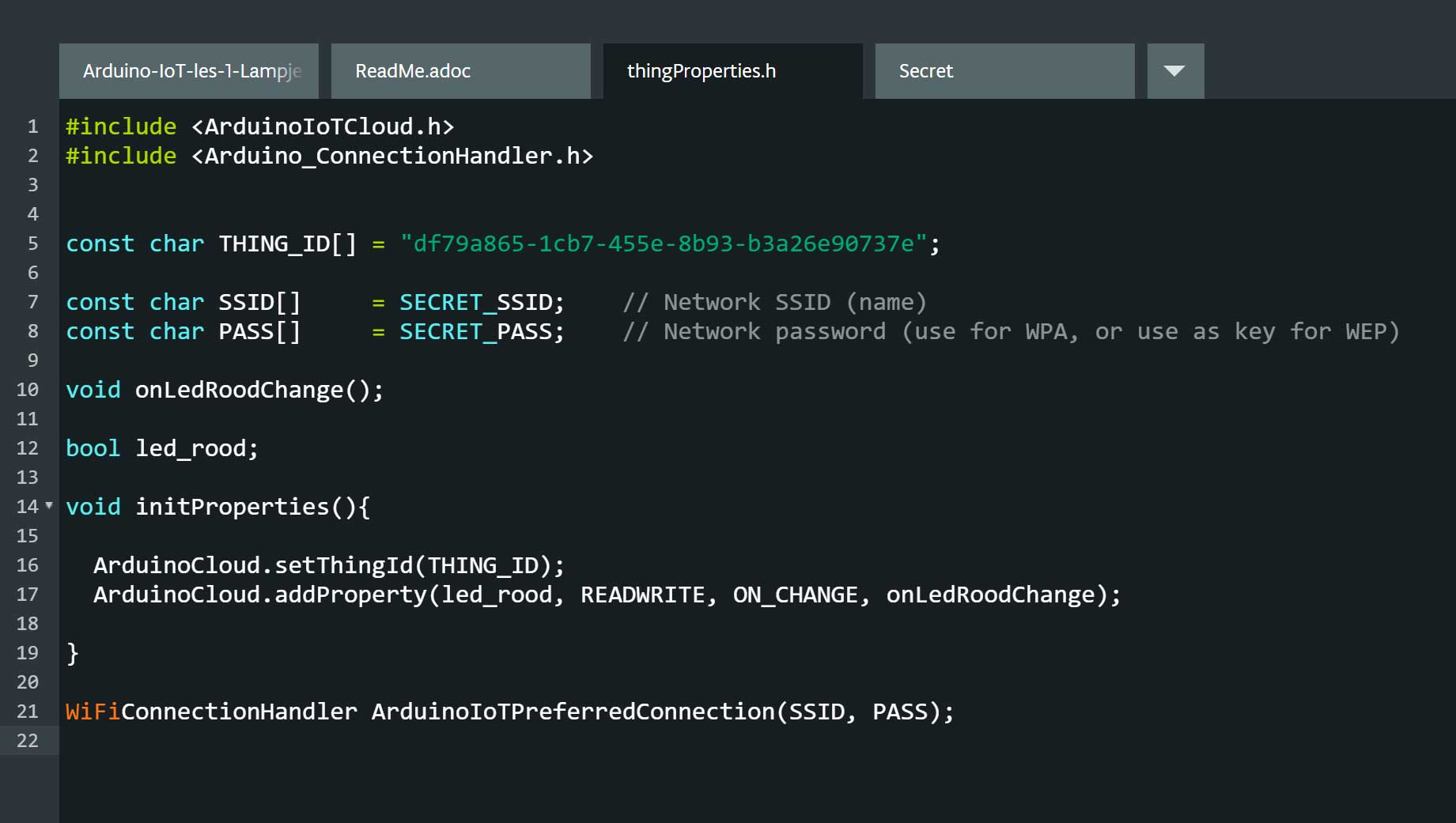 Arduino web editor thingproperties