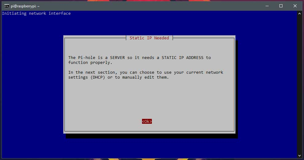 Pagina 3 van de Pi-hole installer.