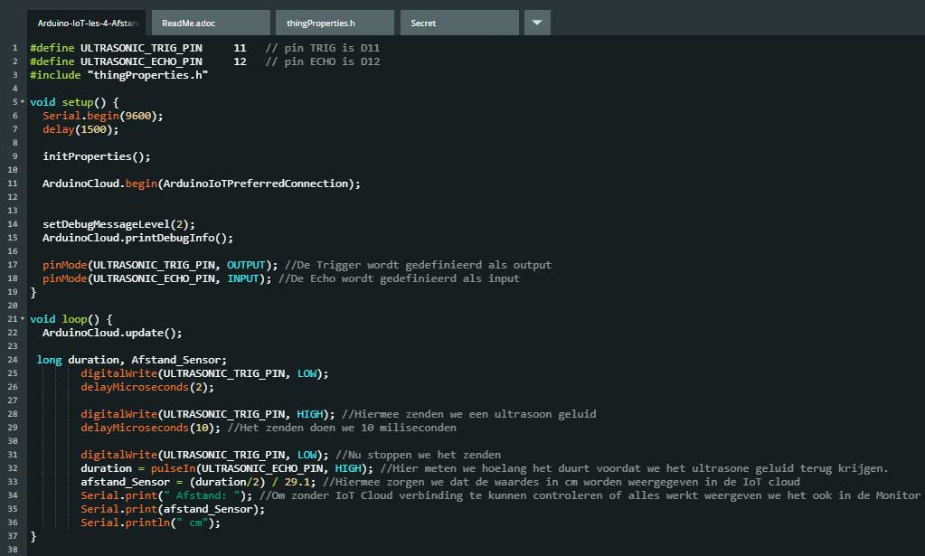 IoT Cloud code HC-SR04