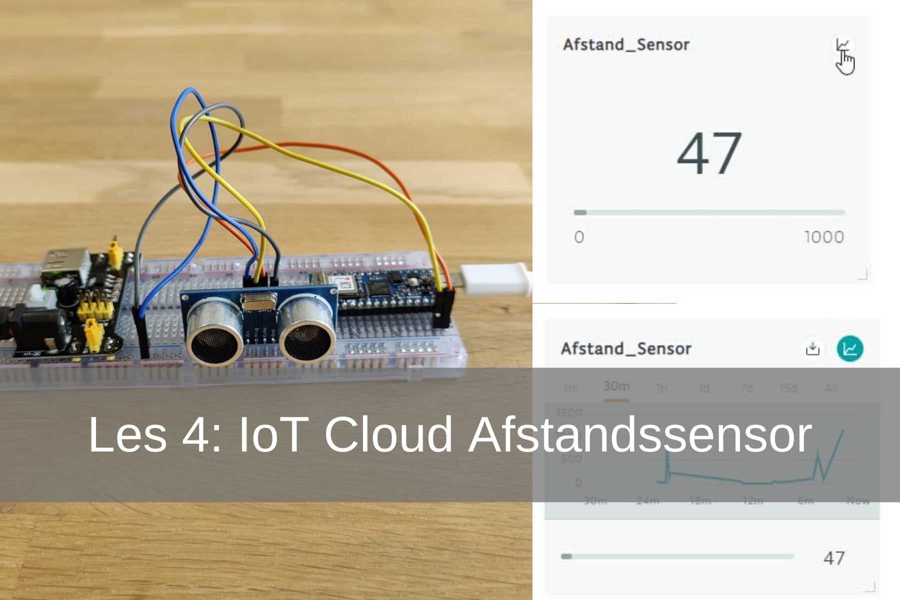 Arduino IoT Cloud Les 4: HC-SR04 afstandssensor