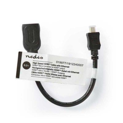 Hier zie je een bovenaanzicht met label van de adapterkabel