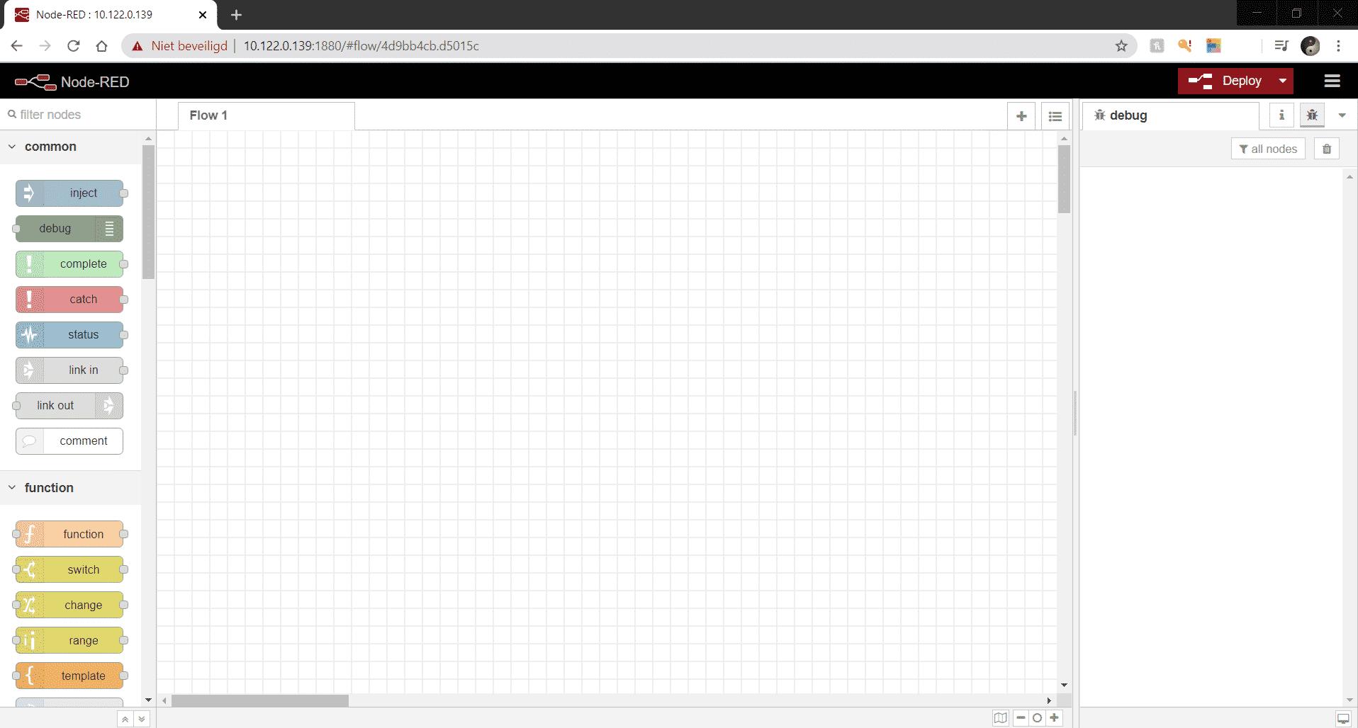 Hier zie je een het scherm wat je krijgt na het verbinden met Node-RED op jou Raspberry Pi
