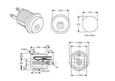 Technische Daten der 2.1-mm-DC-Fassbuchse für Schalttafeleinbau
