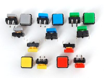 boutons poussoirs carrés 12mm