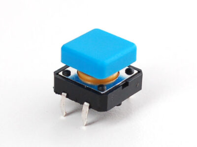 bouton poussoir carré bleu