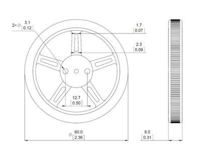 Pololu wheel 60X8mm dimensions