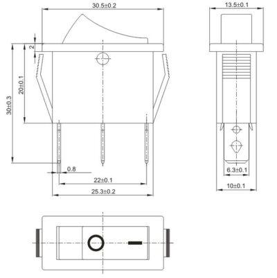 Dimensions de l'interrupteur à bascule KCD3