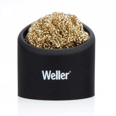Brass sponge tip cleaner with holder