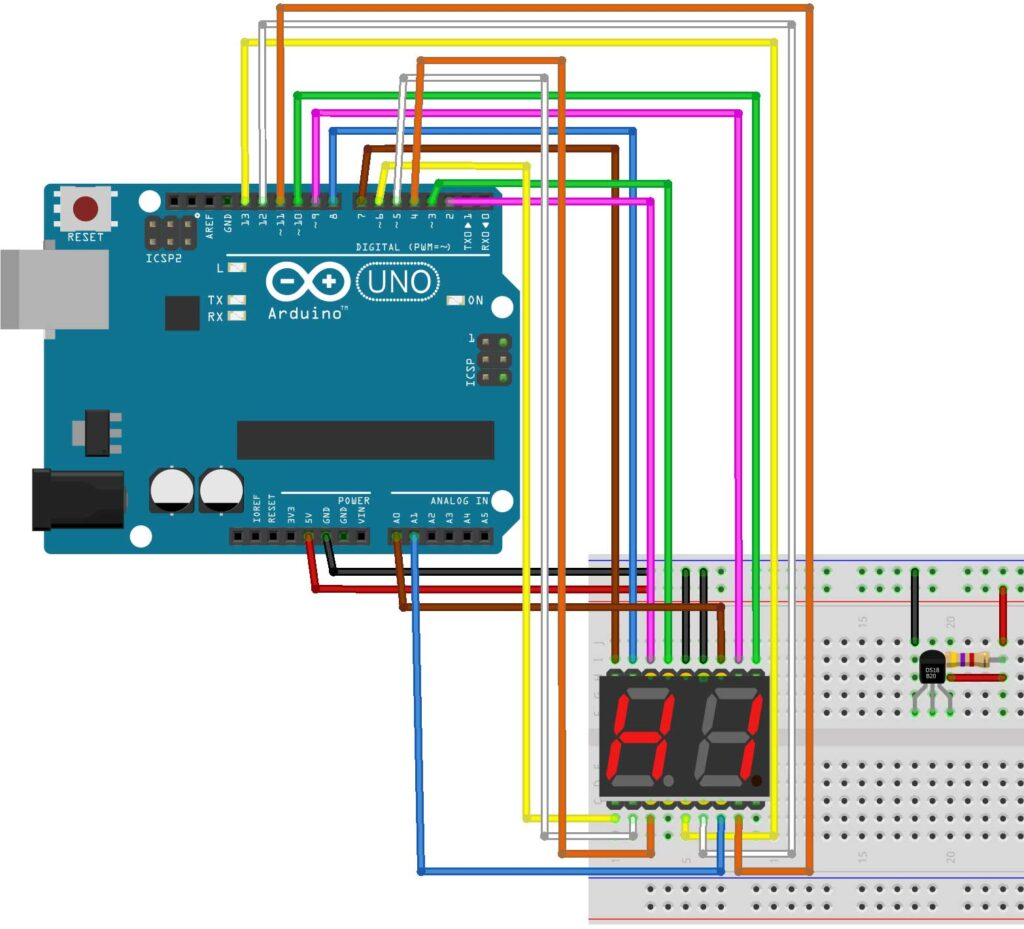 DS18B20 Arduino thermometer fritzing